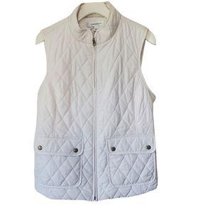 CROFT & BARROW Vest Puffer White Zip Quilted M